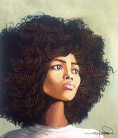 Amazing painting of woman with afro style hair. Gorgeous.
