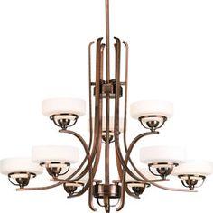$117 at Lowes Torque 30-in 9-Light Copper Bronze Standard Chandelier