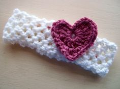 Girls Crocheted Headband White and Pink by MomsCraftLoft on Etsy, $6.00