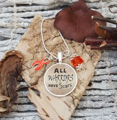 RO-2 Multiple Sclerosis Necklace Warrior Jewelry MS Awareness Jewelry Leukemia RSD Gift For Her All Warriors Have Scars Charm Necklace