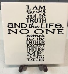 6x6 Decorative John 14:6  6x6 Religious Display Tile/Religious Gifts/Christian Gifts/Religious Trivet/