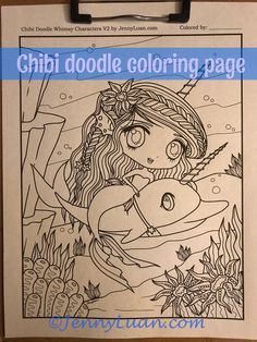 Chibi Narwhal mermaid Doodle Anime Manga Coloring Page for Adult Coloring PDF download by JennyLuanArt by JennyLuanArt on Etsy