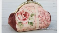 Vintage Rose Framed Purse - Free Tutorial and ePattern Coin Purse Pattern, Purse Patterns, Sewing Patterns Free, Free Sewing, Sewing Tutorials, Sewing Ideas, Free Pattern, Sewing Projects, Diy Handbag