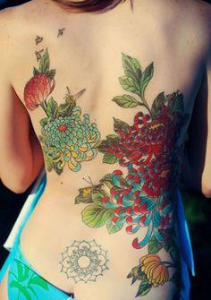 chrysanthemum tattoo for women - 40 Beautiful Chrysanthemum Tattoo Ideas  <3 <3