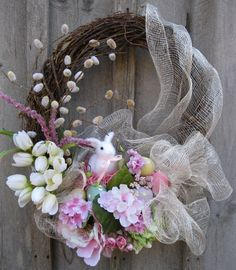 Easter Bunny Spring Garden Wreath by procelebrations on Etsy,