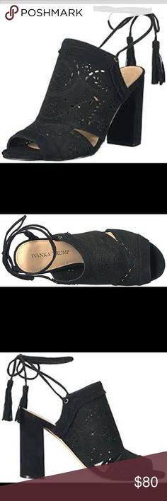 """Ivanka Trump Kara sandals Leather Kara dress sandals, 4"""" heels, memory foam cushioning, lace up style, wrapping ankle tie design with tassel details , fringe and perforated design at upper. GREAT CONDITION Ivanka Trump Shoes Sandals"""
