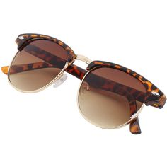 Leopard Browline Retro Sunglasses (15 PLN) ❤ liked on Polyvore featuring accessories, eyewear, sunglasses, brown, leopard sunglasses, brown glasses, retro style glasses, retro eyewear and retro sunglasses