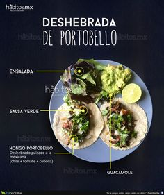 "Hábitos Health Coaching | ""Deshebrada de portobello"" Veggie Dishes, Veggie Recipes, Baby Food Recipes, Mexican Food Recipes, Healthy Comfort Food, Healthy Eating, Healthy Food, Vegan Food, Healthy Nutrition"