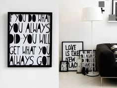Brought to you by Therese Sennerholt / frames / photographs / typography / details / wall / decor / white / black