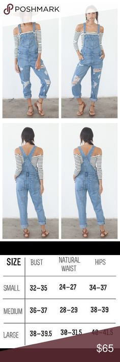 Perfectly distressed denim long overalls vintage Brand new - Perfectly ripped denim overalls.  Features front and back pockets.  no trades not nasty brand. Breathofyouth.com Nasty Gal Pants Jumpsuits & Rompers