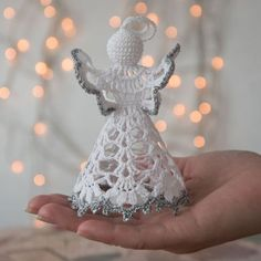 Gorgeous Christmas set of 6 crocheted ornaments. A must have for every household. Gorgeous Christmas set of 6 crocheted ornaments. A must have for every household for Christmas! Handmade Christmas decorations with wedding . Lace Christmas Tree, Crochet Christmas Decorations, Winter Wedding Decorations, Crochet Ornaments, Holiday Crochet, Xmas Ornaments, How To Make Ornaments, Christmas Angels, Christmas Crafts