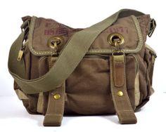Awesome Military Canvas Messenger Bag  www.pennyluna.com