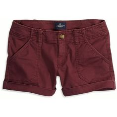 American Eagle Factory Surplus Twill Midi Shorts ($35) ❤ liked on Polyvore featuring shorts, bottoms, pants, maroon, low rise shorts, american eagle outfitters, midi shorts, twill shorts and maroon shorts