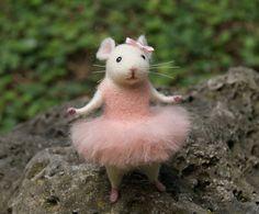 Mouse ballerina Needle felt mouse Felt ballerina mouse