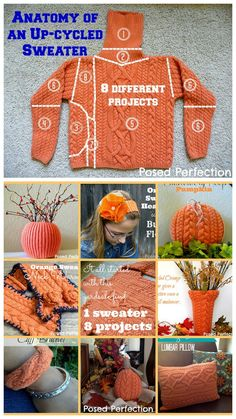 truebluemeandyou How to Recycle a Whole Sweater from Posed Perfection.This post shows how to make 8 projects from 1 recycled sweater: Old Sweater Crafts, Fall Crafts, Diy And Crafts, Fabric Crafts, Sewing Crafts, Fall Sewing Projects, Recycling Projects, Sweater Pumpkins, Sweater Mittens