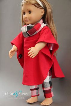 HeidiandFinn modern wears for kids: FREE Veritas cape doll cape poncho pdf pattern Sewing Doll Clothes, American Doll Clothes, Sewing Dolls, Girl Doll Clothes, Barbie Clothes, Girl Dolls, Barbie Stuff, Ag Dolls, Doll Stuff