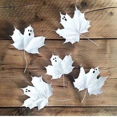Here's an idea that combines Halloween and autumn – leaf ghosts.  The kids will love painting these and they would look great scattered on your party table or fill up a few clear vases and display them around your home.  These don't come with a 'how to' as they, of course, don't need one. http://petitandsmall.com/7-ideas-ghost-themed-halloween-party/