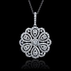 Diamond 18k White Gold Flower Pendant #diamondpendant