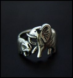 Baby and Mama Elephants Ring High Quality | eBay