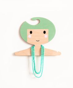 Children's wooden clothes hanger/ room decor - Soft olive green hair