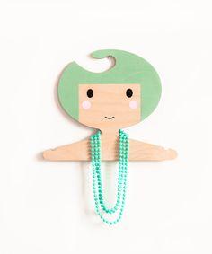 Children's wooden clothes hanger/ room decor - Soft olive green hair