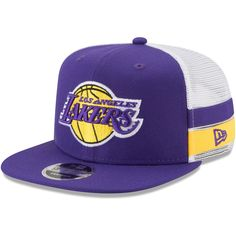 7f74e8bda1bf3 Men s Los Angeles Lakers New Era Purple White Striped Side Lineup 9FIFTY  Adjustable Hat