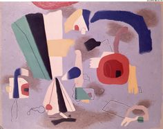 """BAUMEISTER, Willy. Untitled. (Ref#: 520 ).<br />1951, 1952. Oil on masonite. Size in Cm: 81 x 65. <br /> <a href=""""http://www.galerie-melki.fr/content/baumeister-willy/untitled"""">[More Information]</a> <br /><br />"""