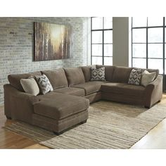 The Justnya Brown Chenille Chaise Sectional by Ashley Furniture is a 3 piece sectional in a solid light brown. The 3 pieces to the sectional include an armless loveseat, a chaise, and sofa. 3 Piece Sectional Sofa, Couch With Chaise, Sectional Sofa With Chaise, Fabric Sectional, Living Room Sectional, Couches, Sofa Set, Curved Sectional, Ashley Sectional
