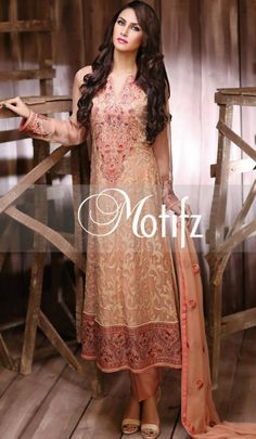 Buy Skin Embroidered Crinkle Chiffon Salwar Kameez by Motifz Clothes Winter Collection