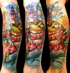 Samurai frog on leg tattoo. Find and save ideas about Samurai frog on leg tattoo on Tattoos Book. More than FREE TATTOOS Pop Art Tattoos, Leopard Tattoos, Flame Tattoos, Frog Tattoos, Movie Tattoos, Baby Tattoos, Feather Tattoos, Animal Tattoos, Bug Tattoo