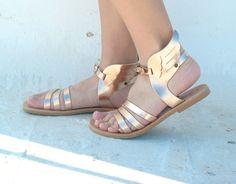 Hermes winged sandals Rose Gold /Metallic by EATHINI on Etsy
