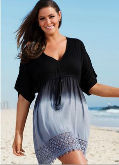 Swimsuits for All Women's Plus Size Ombre Tunic Swimsuit Cover Up Plus Size Bikini Bottoms, Women's Plus Size Swimwear, Women's Swimwear, Plus Size Strand, Plus Size Dresses, Plus Size Outfits, Plus Size Cover Up, Vetements Clothing, Looks Plus Size