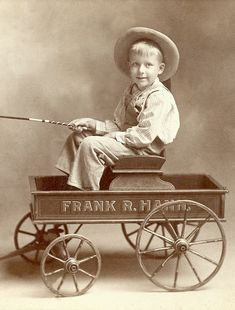 +~+~ Vintage Photograph ~+~+  Boy in wagon