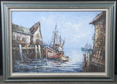 OIL ON CANVAS, HARBOR SCENE WITH FISHING SHIP DOCKED, BY FLORENCE, 43 IN. W X 31 IN. H