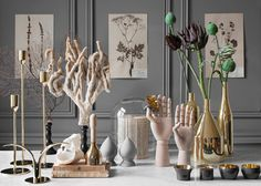 Brass vases by Paolo Dell'elce are modelled on still life paintings