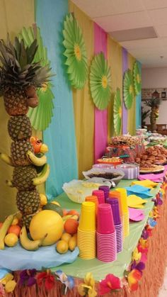 Luau Food Table Decorated