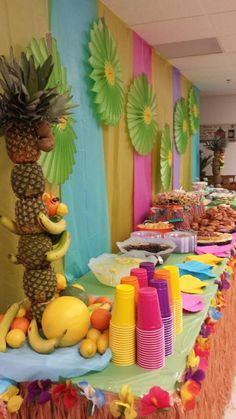 Luau Food Table Decorated