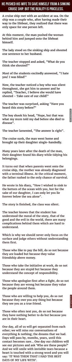 Man Pushes Wife To Save Himself From A Sinking Cruise Ship But The Reality Is Priceless. family sad marriage story wife husband interesting stories