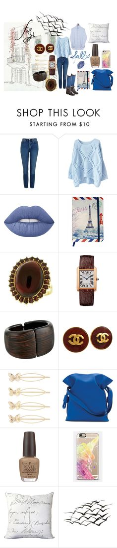 """""""Autumn In Paris"""" by michelle858 ❤ liked on Polyvore featuring Topshop, Lime Crime, Marie Marot, Kenneth Jay Lane, Chanel, Accessorize, Loewe, OPI, Casetify and Surya"""