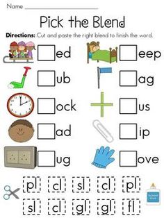 "L-Blends Worksheets. Fun way for students to learn and practice ""l"" blends as they get to cut out the ""l"" blends and paste it in the correct space to complete a word. Teaching Phonics, Phonics Worksheets, Phonics Activities, Reading Activities, Reading Skills, Consonant Blends Worksheets, Kindergarten Reading, Teaching Reading, Kindergarten Phonics"