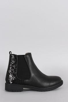 db6a10de2ea133 Elastic Gores Glitter Lug Ankle Boots Bottes Chelsea, Bottines, Paillettes,  Fête, Chic