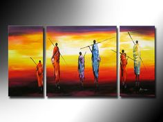 Theme pictures of African tribal figures, sunset prairie landscape, handmade oil painting, abstract art style high quality canva-in Painting  Calligraphy from Home  Garden on Aliexpress.com $112.00