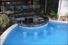 Paving pool coping sunken oasis style bar beyond glass fence and off BBQ/Dining area Swimming Pool Landscaping, Luxury Swimming Pools, Luxury Pools, Dream Pools, Swimming Pool Designs, Outdoor Kitchen Bars, Outdoor Kitchen Design, Pool Bar, Swim Up Bar