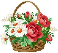 Çiçek Cross Stitch - ücretsiz ve vazolar ve sepetler kayıt düzeni buketleri olmadan indirin