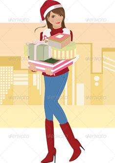 Christmas Shopping  #GraphicRiver         A vector illustration of a beautiful girl carrying Christmas gifts     Created: 14September13 GraphicsFilesIncluded: VectorEPS Layered: No MinimumAdobeCSVersion: CS Tags: beautiful #carrying #celebrate #celebration #christmas #cute #female #gifts #girl #happy #holiday #illustration #lady #people #presents #pretty #santahat #shopping #smiles #tradition #vector #winter #woman