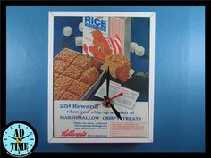 Items similar to Kellogg's Rice Krispies Marshmallow Treat Clock, Vintage Mid Century Modern Advertisement, Handmade, Custom Order! on Etsy Marshmallow Treats, Rice Krispies, Vintage Ads, Vintage Kitchen, 1950s, Creativity, Mid Century, Clock, Future