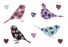 Birds and Hearts Postcard by Lucy Grossmith at www.funkystationeryandartstuff.co.uk