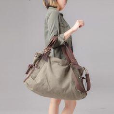 Women Canvas Tote Bag Messenger Bag Shoulder Bag Duffle Bag Large Travel Bag FB02