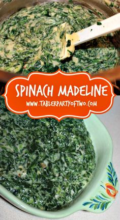 PIN THIS! A delicious twist on creamed spinach. You really must try Creamed Spinach Madeline this holiday season! It's our family's all-time favorite HOLIDAY SIDE DISH! A holiday isn't complete without this dish! Side Dish Recipes, Veggie Recipes, Great Recipes, Cooking Recipes, Favorite Recipes, Canned Spinach Recipes, Veggie Food, Cooking Tips, Thanksgiving Recipes
