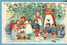 Elsa Beskow Postcard, Lingonberry Mother's Birthday Party